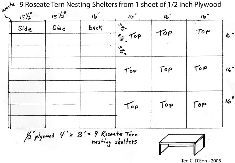 16in. x 16in. Roseate Tern nest boxes