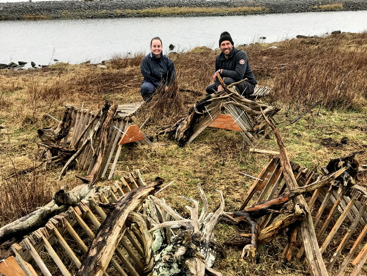 Kristen and Shawn setting up Common Eider nesting shelters on Gull Island - April 24, 2019 - Ted D'Eon photo