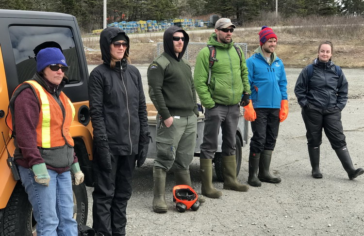 Some of the crew: Pam, Julie, Justin, Shawn, Nick, and Kristen - Abbott's Harbour - April 25, 2019 - Ted D'Eon photo