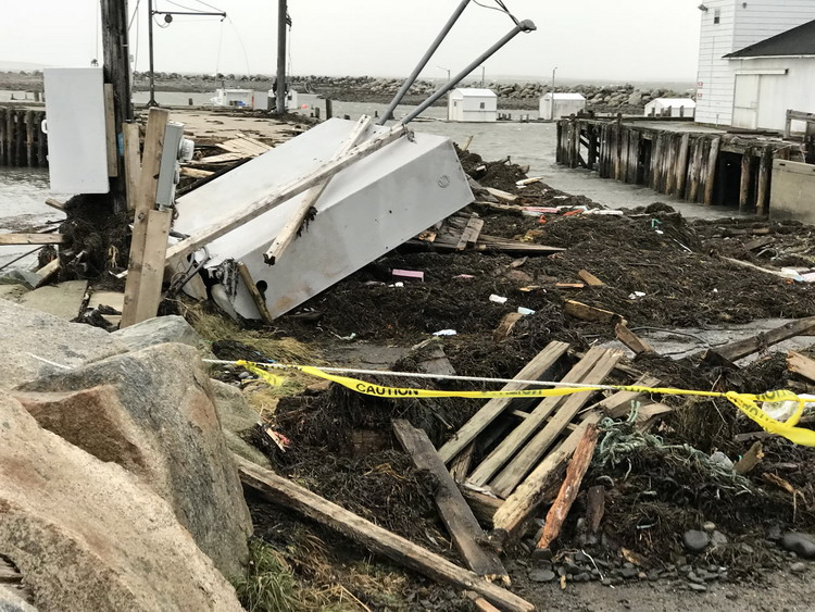 Storm damage at Abbott's Harbour, Middle West Pubnico, January 5, 2018 - Ted D'Eon photo