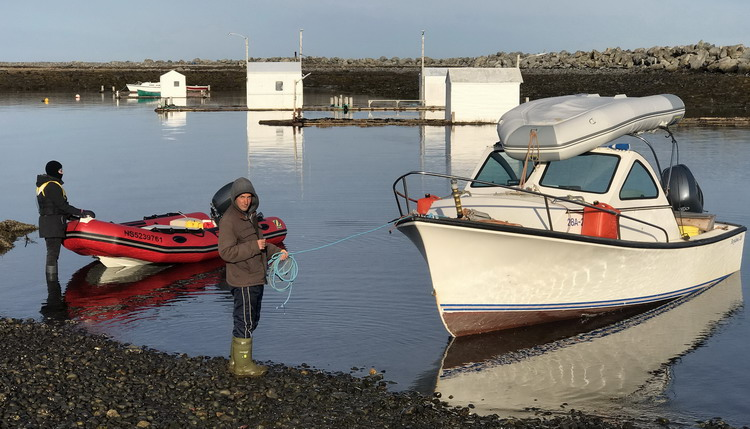Alix & Kathleen with the boats - Abbott's Harbour, NS, April 26, 2020 - Ted D'Eon photo