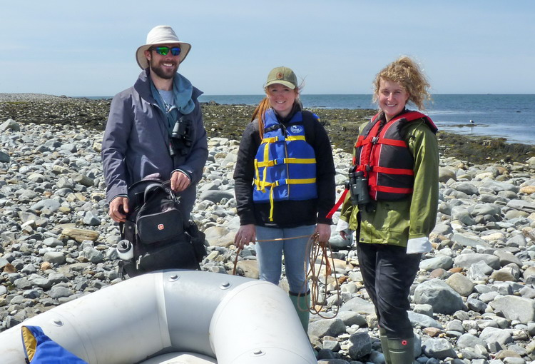 The crew: Nick, Manon, and Natalie - Gull Island, May 22, 2018 - Ted D'Eon photo